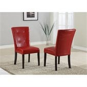 Modus Bossa Chocolate Brown Parsons Chair in Red Leatherette(Set of 2)
