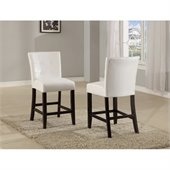 Modus Bossa Counter Height Parsons Stool in White Leatherette (Set of 2)