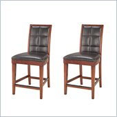 Modus Hudson Biscuit Back Leather Counter Stools in Mocha (Set of 2)
