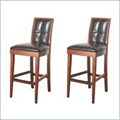 Modus Hudson Biscuit Back Leather Bar Stools in Mocha (Set of 2)