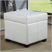 Modus Furniture International Urban Seating Storage Cube in White Leatherette