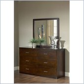 Modus Modera 6 Drawer Dresser and Mirror Set in Chocolate Brown