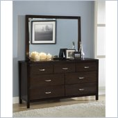 Modus Urban Loft 7 Drawer Dresser and Mirror Set in Dark Wood