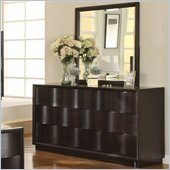 Modus Maui Wave 6 Drawer Dresser and Mirror Set in Chocolate Brown