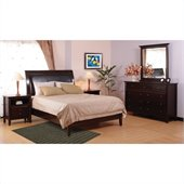Modus Furniture City II Leatherette Low Profile Sleigh Bed in Coco 2 Piece Bedroom Set