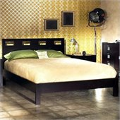 Modus Furniture Nevis Riva Low Profile Platform Bed in Espresso 4 Piece Bedroom Set