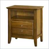 Modus Furniture City II Two Drawer Charge Station Nightstand in Pecan