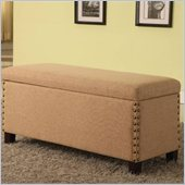 Modus Furniture Urban Seating Nailhead Storage Bench in Toast Linen