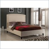 Modus Furniture Luna Panel Bed in Wheat Linen with Nailhead Trim