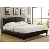 Modus Furniture Ledge Upholstered Platform Bed with Arch Headboard in Chocolate