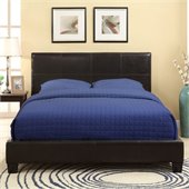 Modus Furniture Ledge Upholstered Platform Bed with Square Headboard in Chocolate