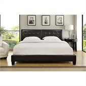 Modus Furniture Ledge Upholstered Platform Bed with Tufted Headboard in Chocolate