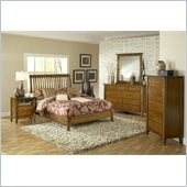 Modus Furniture City II Rake Bed 5 Piece Bedroom Set in Pecan