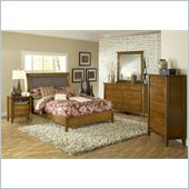 Modus Furniture City II Sleigh Bed 4 Piece Bedroom Set in Pecan