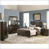 Modus Furniture Contour 5 Piece Panel bed Bedroom Set in Ebony