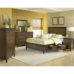 Modus Furniture Paragon Storage 5 Piece Bedroom Set in Truffle