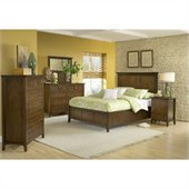 Modus Furniture Paragon Panel Bed 5 Piece Bedroom Set in Truffle