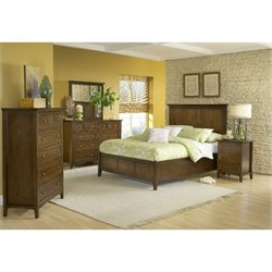 Modus Furniture Paragon Panel Bed 6 Piece Bedroom Set in Truffle