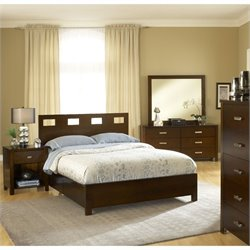 Modus Furniture Riva 4 Piece Bedroom Set in Chocolate Brown