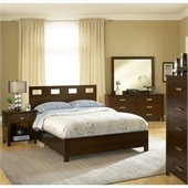Modus Furniture Riva 5 Piece Bedroom Set in Chocolate Brown