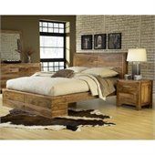 Modus Atria Panel Bed 3 Piece Bedroom Set in Natural Sheesham