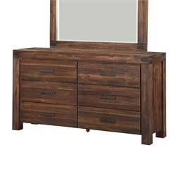 Modus Furniture Meadow 6 Drawer Double Dresser in Brick Brown