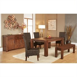 Modus Furniture Meadow 6 Piece Dining Set in Brick Brown