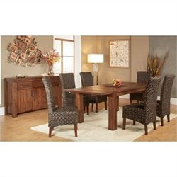 Modus Furniture Meadow 7 Piece Dining Set in Brick Brown