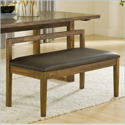 Modus Furniture Alba Solid Wood Dining Bench with Recycled Leather Seat