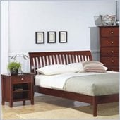 Modus Newport Platform Bed and Single Drawer Nightstand 2 Piece Bedroom Set
