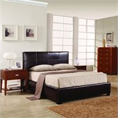 Modus Lucca Upholstered Storage Platform Bed in Chocolate Leather
