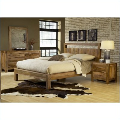 Modus Furniture Atria Platform Bed in Sheesham 3 Piece Bedroom Set