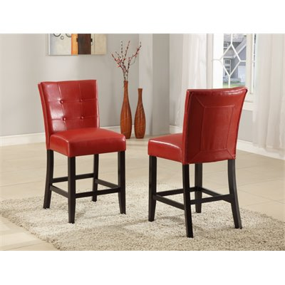 Modus Bossa Counter Height Parsons Stool in Red Leatherette (Set of 2)