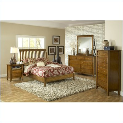 Modus Furniture City II Rake Bed 3 Piece Bedroom Set in Pecan