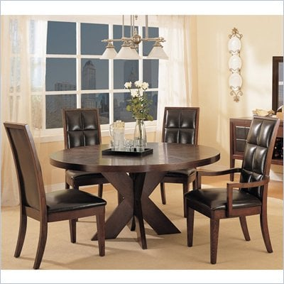 Modus Hudson Round X Base Casual Dining Table in Mocha Finish