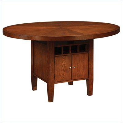 Modus Furniture Hudson Round Counter Table with Wine Storage in Mocha