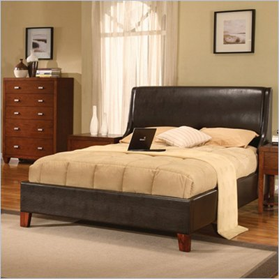 Modus Upholstered Tiffany Low Profile Sleigh Bed in Chocolate Leatherette