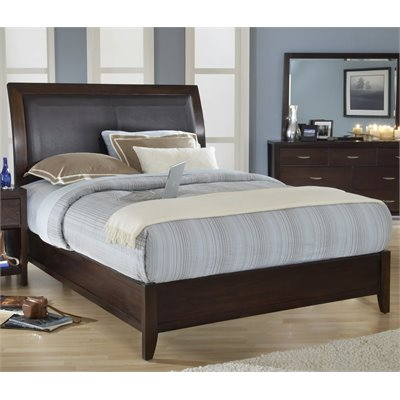 Modus Urban Loft Leatherette Upholstered Low Profile Sleigh Bed in Chocolate Brown Finish