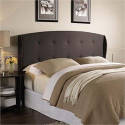 Lifestyle Solutions Lyon Upholstered Queen Headboard in Dark Brown