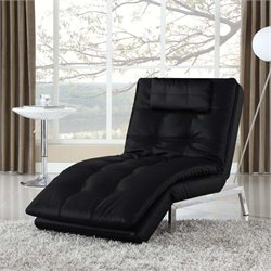Lifestyle Solutions St. Augustine Leather Chaise Lounge in Black