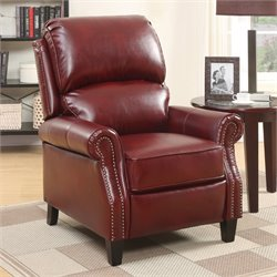 Relaxalounger Alume Leather Push Back Recliner in Burgundy