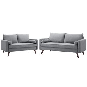 LifeStyle Solutions Mid Century Modern 2 Piece Sofa and Loveseat Set in Gray