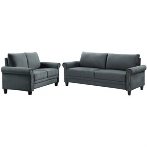 LifeStyle Solutions Transitional 2 Piece Sofa and Loveseat Set in Gray