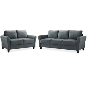 LifeStyle Solutions Transitional 2 Piece Sofa and Loveseat Set in Dark Gray