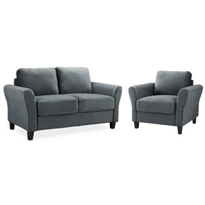 LifeStyle Solutions Mavrick 2 Piece Upholstered Loveseat and Chair Set in Dark Gray