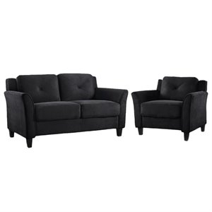 LifeStyle Solutions Hartford 2 Piece Microfiber Loveseat and Chair Set in Black