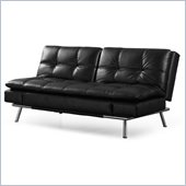 Lifestyle Solutions Matrix Convertible Sofa in Black Faux Leather