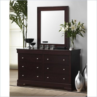 Lifestyle Solutions 588V Series 6 Drawer Double Dresser and Mirror Set
