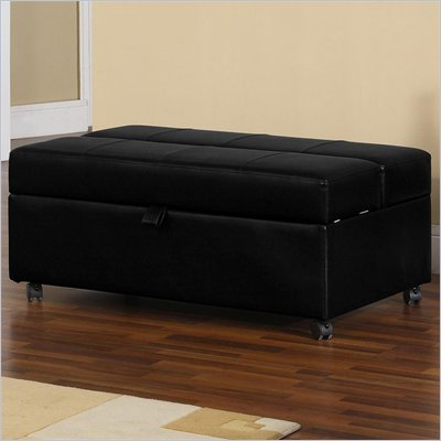 Lifestyle Solutions Glendale 2-in-1 Convertible Bed Ottoman in Black