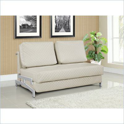 Lifestyle Solutions Marquee St. Martin Convertible Sofa in Cream Faux Leather